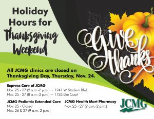 JCMG Thanksgiving Holiday Hours